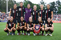 The USWNT lines up before the game at WakeMed Soccer Park in Cary, NC.   The USWNT defeated Japan, 2-0..
