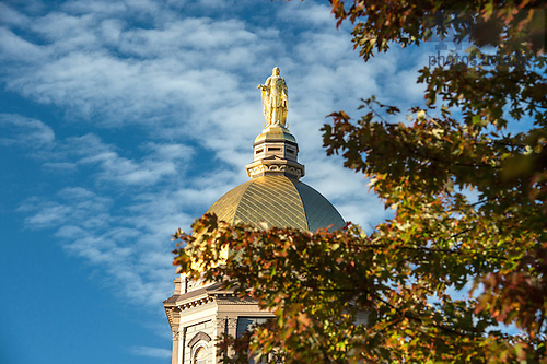 October 11, 2016; Mary statue atop the Golden Dome on the Main Building. (Photo by Barbara Johnston/University of Notre Dame)
