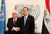 New York City, NY, 26 September 2014 The secretary-General Ban Ki Moon with Mr Mohammed shake hands with Masum President of  Iraq during the 69th United Nations General Assembly at United Nations Headquarters.  Photo by Joana Toro VIEWpress.