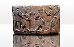 Picture of Neo-Hittite orthostat describing the legend of Gilgamesh from Karkamis,, Turkey. Ancora Archaeological Museum. Mythological scene. The 2 figures in the center are flanked by lion headed men who have one fist outstretched and are known as Ugallu. The 2 figures in the middle holding spears are men with bodies of bulls known as Kusarikku. 3