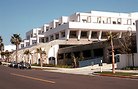 Charles Moore: Oceanside City Hall-Library Complex-Parking garage, North (Fourth Stl) side, viewed from hill. (Photo '91)