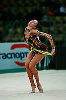 """Anna Bessonova of Ukraine expresses with rope at 2008 World Cup Kiev, """"Deriugina Cup"""" in Kiev, Ukraine on March 22, 2008."""