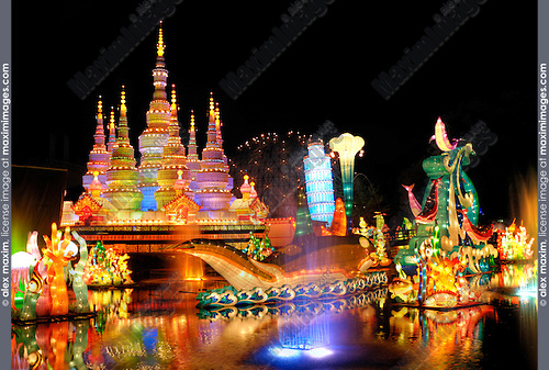 Chinese Lantern Festival in Toronto. Xishuangbanna Jinghong temple. Colorful magnificent illumination glowing at night. Ontario Place, Toronto, Ontario, Canada 2008.