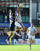 Taulupe Faletau of Bath Rugby claims the ball in the air. Aviva Premiership match, between Worcester Warriors and Bath Rugby on April 15, 2017 at Sixways Stadium in Worcester, England. Photo by: Patrick Khachfe / Onside Images