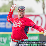 7 March 2015: St. Louis Cardinals Manager Mike Matheny tosses batting practice prior to a Spring Training game against the Washington Nationals at Space Coast Stadium in Viera, Florida. The Cardinals fell to the Nationals 6-5 in Grapefruit League play. Mandatory Credit: Ed Wolfstein Photo *** RAW (NEF) Image File Available ***