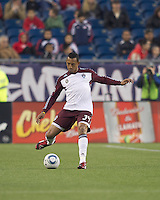 Colorado Rapids defender Tyrone Marshall (34) passes the ball. In a Major League Soccer (MLS) match, the New England Revolution tied the Colorado Rapids, 0-0, at Gillette Stadium on May 7, 2011.