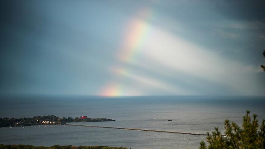 A rainbow over Lake Superior at Marquette, Michigan.