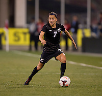 Ali Riley (7) of New Zealand sprints forward during an international friendly at Crew Stadium in Columbus, OH. The USWNT tiedNew Zealand, 1-1.