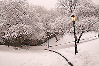 Riverside Park, 79th Street, Snow, designed by Frederick Law Olmsted, Manhattan, New York City, New York, USA