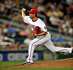 16 August 2008: Washington Nationals' pitcher Luis Ayala on the mound in relief against the Colorado Rockies at Nationals Park in Washington, DC.  The Rockies defeated the Nationals 13-6, handing the last place Nationals their 9th consecutive loss. ..Mandatory Photo Credit: Ed Wolfstein Photo