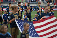 Philadelphia Union players stand for the United States of America's national anthem before a match between Aston Villa FC and Philadelphia Union at PPL Park in Chester, Pennsylvania, USA on Wednesday July 18, 2012. (photo - Mat Boyle)