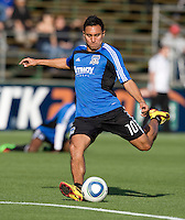 Arturo Alvarez of Earthquakes warms up before the game against Real Salt Lake at Buck Shaw Stadium in Santa Clara, California on March 27th, 2010.   Real Salt Lake defeated San Jose Earthquakes, 3-0.