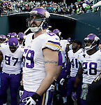 Minnesota Vikings Jared Allen (69), Adrian Robinson (28), Everson Griffen (97), Mistral Raymond (41) get ready to held out on the field for pre-game warm ups  at CenturyLink Field in Seattle, Washington on  November 17, 2013.  The Seahawks beat the Vikings 41-20.  ©2013.  Jim Bryant. All Rights Reserved.