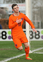 20170314 - UDEN , NETHERLANDS : Dutch Thomas Buitink celebrating his opening goal pictured during the UEFA Under 17 Elite round game between The Netherlands U17 and Belgium U17, on the first matchday in group 5 of the Uefa Under 17 elite round in The Netherlands , tuesday 14 th March 2017 . PHOTO SPORTPIX.BE | DIRK VUYLSTEKE