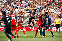 Gabriel Farfan (15) of the Philadelphia Union goes up for a header. The Philadelphia Union defeated Toronto FC 3-0 during a Major League Soccer (MLS) match at PPL Park in Chester, PA, on July 8, 2012.