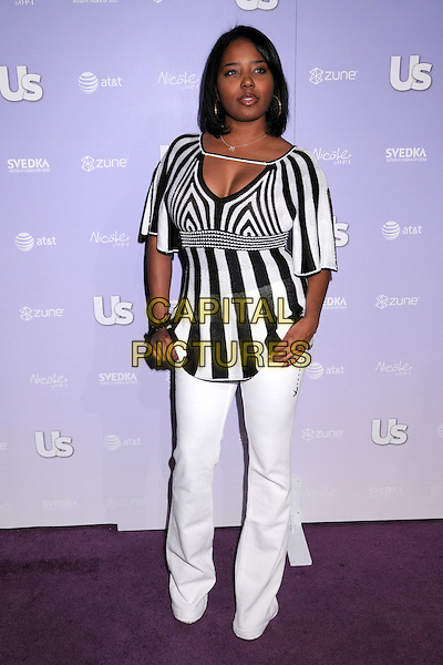 SHAR JACKSON.US Weekly's Hot Hollywood 2008 Party at Beso Restaurant, Hollywood, California, USA..April 17th, 2008.full length white trousers black striped stripes top .CAP/ADM/BP.©Byron Purvis/AdMedia/Capital Pictures.