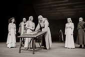 "Cordelia (Miranda Foster), Duke of Albany (Ken Drury(, Goneril (Anna Massey), King Lear (Anthony Hopkins), Regan (Suzanne Bertish), and Duke of Cornwall (Fred Pearson) in  ""King Lear"" by William Shakespeare at the National Theatre, London 1986.  Directed by David Hare and designed by Hayden Griffin."