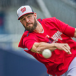 21 May 2014: Washington Nationals outfielder Kevin Frandsen tosses on the sidelines prior to a game between the Cincinnati Reds and the Washington Nationals at Nationals Park in Washington, DC. The Reds edged out the Nationals 2-1 to take the rubber match of their 3-game series. Mandatory Credit: Ed Wolfstein Photo *** RAW (NEF) Image File Available ***