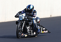 Jul. 20, 2013; Morrison, CO, USA: NHRA pro stock motorcycle rider Eddie Krawiec during qualifying for the Mile High Nationals at Bandimere Speedway. Mandatory Credit: Mark J. Rebilas-