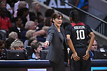 DALLAS, TX - MARCH 31:  Head coach Tara VanDerveer coaches Briana Roberson #10 of the Stanford Cardinal during the 2017 Women's Final Four at American Airlines Center on March 31, 2017 in Dallas, Texas. (Photo by Justin Tafoya/NCAA Photos via Getty Images)