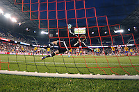 HARRISON, NJ - Wednesday April 29, 2015: Bradley Wright-Phillips scores New York's only goal off a penalty kick.  The New York Red Bulls tie the Colorado Rapids 1-1 at home at Red Bull Arena in regular season MLS play.