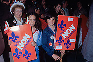 Quebec, Canada, 1980. On May 20 1980, called by the Parti Quebequois (PQ) government, the first referendum on whether Quebec should pursue a path toward sovereignty took place. The OUI (yes) party was defeated by a 59.56 percent to 40.44 percent margin for the NO party. - Photo of anti-secessionist supporters at a rally for the NO party.
