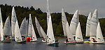 MIDDLEBURY, CT - 22 AUGUST 2015 - 082215JW11.jpg -- Cluster of sailboatsmake their way past a marker during the first race of The Board of Governor's Regatta at Lake Quassapaug Saturday afternoon. Jonathan Wilcox Republican-American