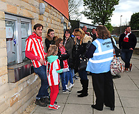Lincoln City fans queue for the few remaining tickets<br /> <br /> Photographer Andrew Vaughan/CameraSport<br /> <br /> Vanarama National League - Gateshead v Lincoln City - Monday 17th April 2017 - Gateshead International Stadium - Gateshead <br /> <br /> World Copyright &copy; 2017 CameraSport. All rights reserved. 43 Linden Ave. Countesthorpe. Leicester. England. LE8 5PG - Tel: +44 (0) 116 277 4147 - admin@camerasport.com - www.camerasport.com