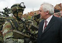 04/04/2008.An Taoiseach Bertie Ahern, TD speaking to Corporal Dominic Mullins during an inspection of members of the Army who are being sent to Chad at McKee Barracks, Blackhorse Ave, Dublin..Photo: Gareth Chaney Collins