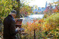 Artist in Central Park in Fall