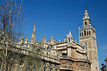 Europe, Spain, Seville. The Cathedral of Seville, Cathedral de Sevilla. View of the Cathedral and La Giralda, the belltower minaret.