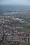 The  Thames, Oxford in  flood . <br /> View of Oxford, looking  North West  over St Clements and the Cowley road,   with  Portmeadow to the top , a natural flood plain.