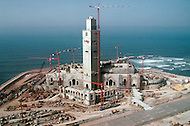March 6, 1989, Casablanca, Morocco. General view of the construction of Hassan II Mosque. The mosque was completed in 1993.