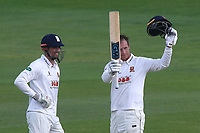 Tom Westley (R) of Essex celebrates scoring a century, 100 runs as Alastair Cook looks on during Essex CCC vs Hampshire CCC, Specsavers County Championship Division 1 Cricket at The Cloudfm County Ground on 19th May 2017