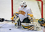 8 February 2009: University of Vermont Catamounts' goaltender Caitlin Whitlock, a Freshman from Westfield, NJ, makes a third period save against the University of New Hampshire Wildcats in the second game of a weekend series at Gutterson Fieldhouse in Burlington, Vermont. The Wildcats defeated the lady Catamounts 6-2 to sweep the 2-game series. Mandatory Photo Credit: Ed Wolfstein Photo
