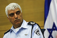 Head of Investigations and Intelligence Division of the Israel Police Commander Manny Yitzhaki attends an Internal Affairs committee meeting regarding police deployment for crime organizations, in the Israeli parliament.  Photo by Oren Nahshon