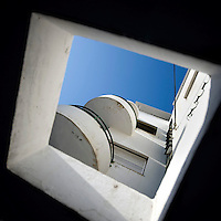 The exterior of part of a Bauhaus style building at 45 Hirshenberg Street. Tel Aviv is known as the White City in reference to its collection of 4,000 Bauhaus style buildings, the largest number in any city in the world. In 2003 the Bauhaus neighbourhoods of Tel Aviv were placed on the UNESCO World Heritage List. .