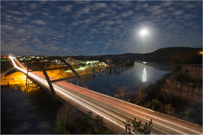 I'm not a big fan of 4:00am shoots, but sometimes it works out. In this Austin image, I wanted to photograph the full moon over the 360 Bridge. I arrived in the still of the night - it was cold, too - and took in the view. This image is a 5 minute exposure and that allowed the moonlight to light up the river valley beneath the Austin bridge.