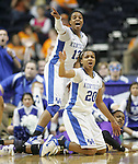 Sophomore guard Maegan Conwright (20) and freshman guard Bria Goss react during the SEC Women's Basketball Tournament game UK Hoops vs. LSU at Bridgestone Arena in Nashville, Tenn., on Saturday, Mar. 3, 2012. Photo by Tessa Lighty | Staff