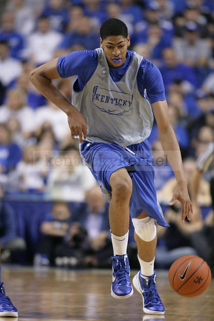 UK Freshman Anthony Davis dribbles during transition during the first half of the UK Blue-White Scrimmage at Rupp Arena in Lexington, Ky., Oct. 26, 2011. Photo by Brandon Goodwin | Staff