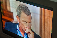 Oprah Winfrey interviews Lance Armstrong on the Oprah Winfrey Network (OWN) on Thursday, January 17, 2013. Armstrong has been accused of doping and other drug use in order to win the Tour de France races.  (© Richard B. Levine)