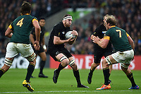 Brodie Retallick of New Zealand in possession. Rugby World Cup Semi Final between South Africa and New Zealand on October 24, 2015 at Twickenham Stadium in London, England. Photo by: Patrick Khachfe / Onside Images