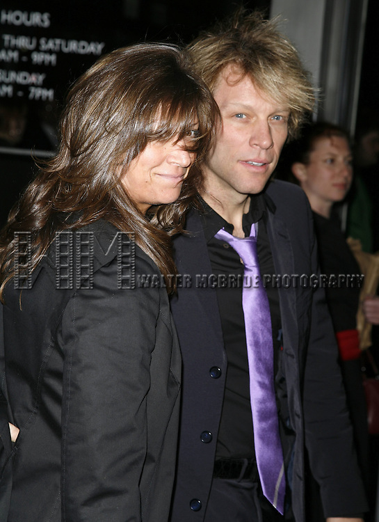 Jon Bon Jovi and wife.attending the Opening Night of Warner Bros. Theatre Ventures' Inaugural production of LESTAT at the Palace Theatre with an after party at Time Warner Center in New York City. .April 25, 2006 .© Walter McBride/WM Photography