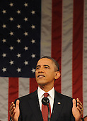 United States President Barack Obama delivers his State of the Union address before a joint session of Congress on Tuesday, January 24, 2012 on Capitol Hill in Washington, DC. .Credit: Saul Loeb / Pool via CNP