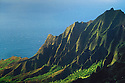 Kalalau Valley and Kaaalahina Ridge, view from Kokee State Park lookout; Kauai, Hawaii.  .