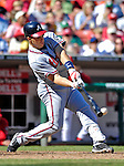 16 September 2007: Atlanta Braves first baseman Mark Teixeira connects for a double in the seventh inning against the Washington Nationals at Robert F. Kennedy Memorial Stadium in Washington, DC. The Braves shut out the Nationals 3-0 to take the third game of their 3-game series.. .Mandatory Photo Credit: Ed Wolfstein Photo