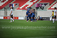 The French team celebrate scoring a goal during the UEFA Womens U19 Semi-Final at Parc y Scarlets Wednesday 28th August 2013. All images are the copyright of Jeff Thomas Photography-www.jaypics.photoshelter.com-07837 386244-Any use of images must be authorised by the copyright owner.
