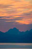 Sunset behind the Chilkat mountains, Lynn Canal, Southeast, Alaska