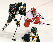 Sebastian Stålberg (Vermont - 8), Ryan Ruikka (BU - 2) - The visiting University of Vermont Catamounts tied the Boston University Terriers 3-3 in the opening game of their weekend series at Agganis Arena in Boston, Massachusetts, on Friday, February 25, 2011.
