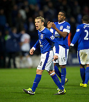 BOLTON, ENGLAND - Saturday, January 26, 2013: Everton's captain Phil Neville hurls abuse at the travelling fans after John Heitinga's late winning goal sealed a 2-1 victory over Bolton Wanderers during the FA Cup 4th Round match at the Reebok Stadium. (Pic by David Rawcliffe/Propaganda)